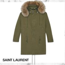 Saint Laurent Fur Plain Long Elegant Style Khaki Parkas
