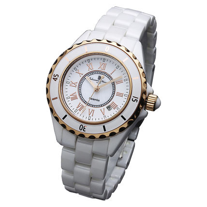 Casual Style Round Quartz Watches Ceramic Analog Watches