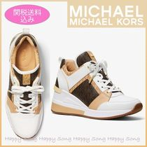 Michael Kors Monogram Round Toe Rubber Sole Casual Style Street Style