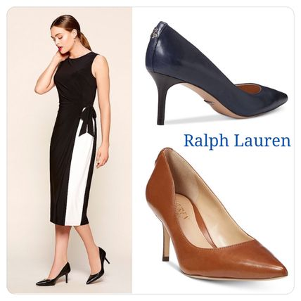 19FW Plain Leather Pointed Toe Pumps