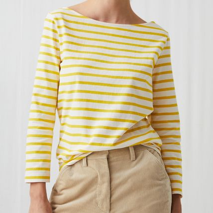 Stripes Casual Style Boat Neck Long Sleeves Cotton Medium