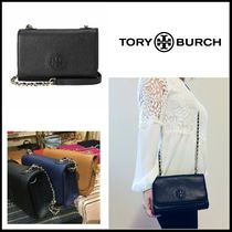 Tory Burch Chain Plain Leather Elegant Style Shoulder Bags
