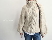 Cable Knit Casual Style Wool Plain Medium Puff Sleeves