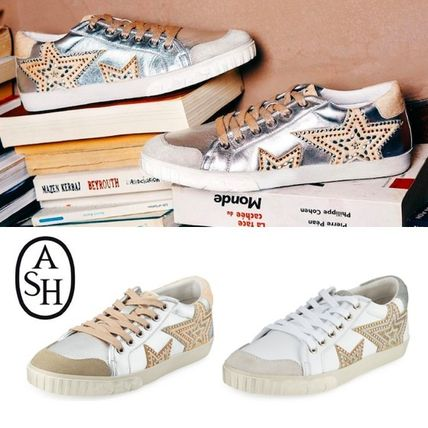 Star Round Toe Casual Style Plain Leather Low-Top Sneakers