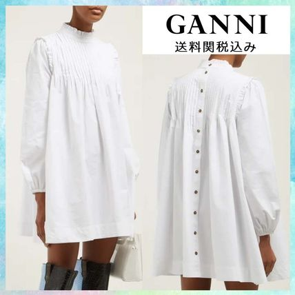 Casual Style Long Sleeves Plain Cotton Dresses