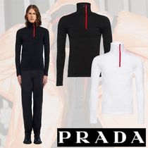 PRADA Pullovers Nylon Long Sleeves Plain Knits & Sweaters