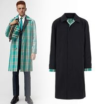 Burberry Tartan Plain Long Trench Coats