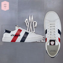 MONCLER MONTPELLIER Stripes Street Style Leather Sneakers