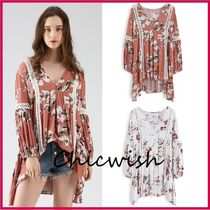 Chicwish Flower Patterns Blended Fabrics Puffed Sleeves V-Neck Cotton