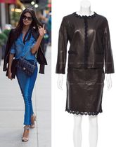 CHANEL TIMELESS CLASSICS CHANEL Black Brown Leather Jacket Skirt F42