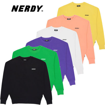 Unisex Street Style Long Sleeves Plain Cotton Medium