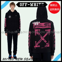Off-White Pullovers Unisex Blended Fabrics Cotton Hoodies
