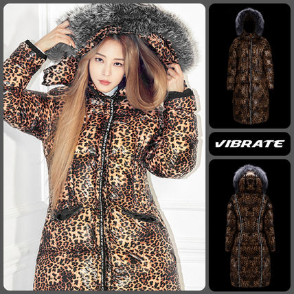 Leopard Patterns Fur Long Logo Down Jackets