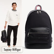 Tommy Hilfiger Unisex Nylon Street Style A4 Plain Backpacks