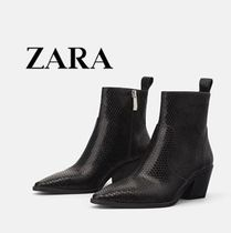 ZARA Casual Style Plain Leather Block Heels Ankle & Booties Boots