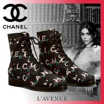 CHANEL Plain Toe Rubber Sole Tweed Blended Fabrics Street Style