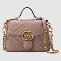 GUCCI Plain Leather Elegant Style Handbags