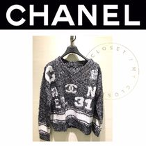 CHANEL Casual Style Street Style V-Neck Cotton Medium Handmade