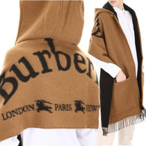 Burberry Wool Blended Fabrics Plain Ponchos & Capes