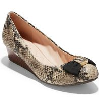 Cole Haan Leather Office Style Python Wedge Pumps & Mules