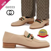 GUCCI Jordaan Stripes Loafers Plain Leather U Tips Loafers & Slip-ons