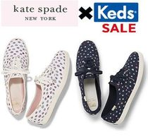 kate spade new york Heart Round Toe Rubber Sole Lace-up Casual Style Tweed