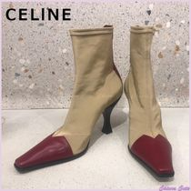 CELINE Square Toe Bi-color Plain Leather Pin Heels Elegant Style