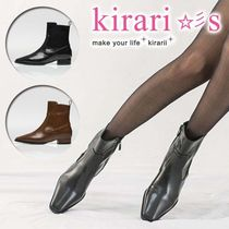 Square Toe Casual Style Faux Fur Plain Ankle & Booties Boots