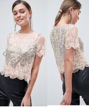 ASOS Flower Patterns Casual Style Short Sleeves With Jewels