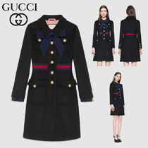 GUCCI Stand Collar Coats Wool Plain Long Office Style Coats