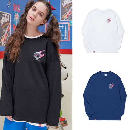Unisex Street Style Long Sleeves Plain Sweatshirts