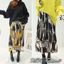 Flared Skirts Casual Style Long Midi Maxi Skirts