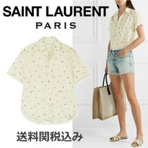 Saint Laurent Star Blended Fabrics Cotton Short Sleeves Elegant Style
