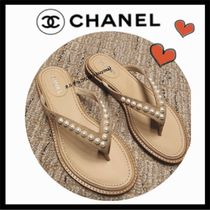668571caf7f8 CHANEL ICON Casual Style Plain Leather Sandals