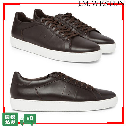 Unisex Street Style Plain Leather Sneakers