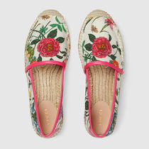 GUCCI Flower Patterns Plain Toe Casual Style Unisex