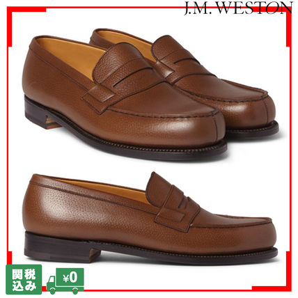 Loafers Unisex Plain Leather Handmade Loafers & Slip-ons