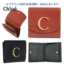Chloe Calfskin Plain Folding Wallets