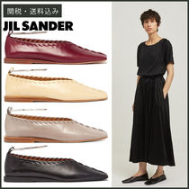 Jil Sander Square Toe Moccasin Casual Style Plain Leather Block Heels