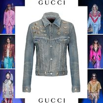 GUCCI Denim Blended Fabrics Studded Plain Other Animal Patterns