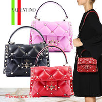 VALENTINO Lambskin Studded 2WAY Plain Elegant Style Handbags
