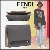 FENDI Unisex Calfskin Bag in Bag Plain Clutches