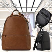 ZARA Faux Fur Street Style A4 Plain Backpacks