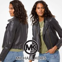 Michael Kors Short Plain Leather Biker Jackets