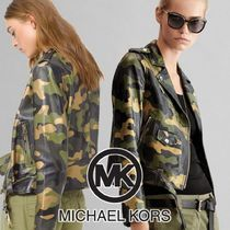 Michael Kors Short Camouflage Leather Biker Jackets