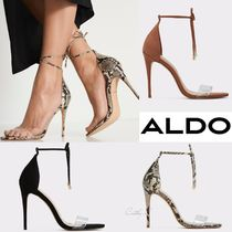 ALDO Open Toe Blended Fabrics Plain Pin Heels Python