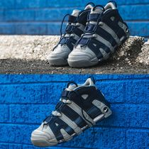 Nike AIR MORE UPTEMPO Faux Fur Blended Fabrics Street Style Plain Sneakers