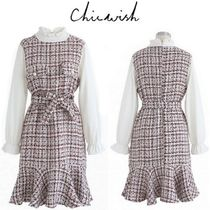 Chicwish Other Check Patterns Long Sleeves Medium High-Neck