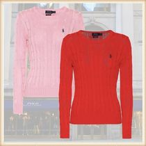 POLO RALPH LAUREN Crew Neck Cable Knit Casual Style Long Sleeves Plain