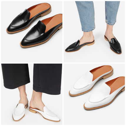 Round Toe Plain Leather Slippers Sandals Sandal